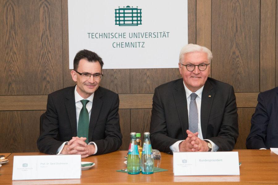 Frank-Walter Steinmeier besuchte am Sonntag die TU Chemnitz.