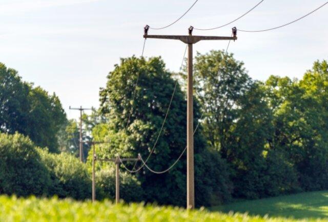 Diese Mittelspannungsfreileitung in Borstendorf wird durch eine 1700 Meter lange Erdverkabelung ersetzt.