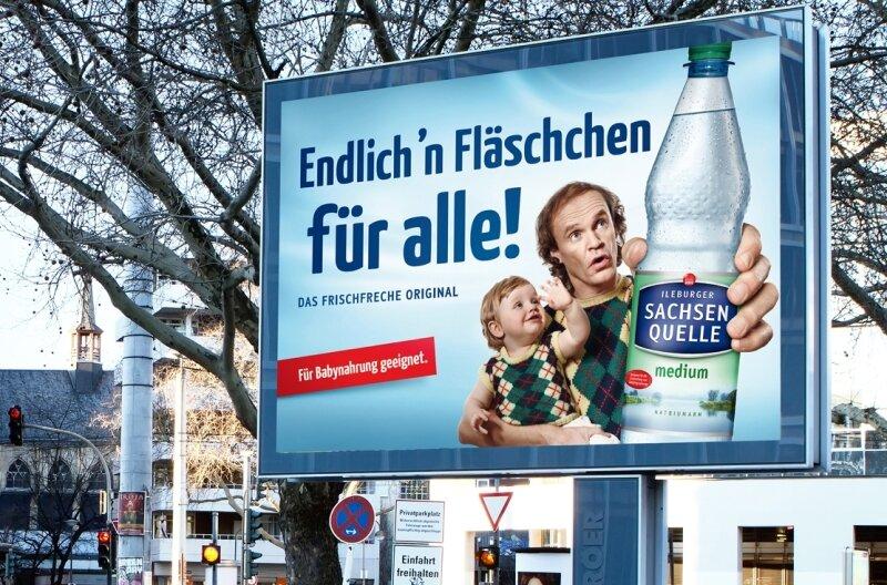 Die aktuelle Werbung von Sachsenquelle mit dem Comedian und gebürtigen Plauener Olaf Schubert.