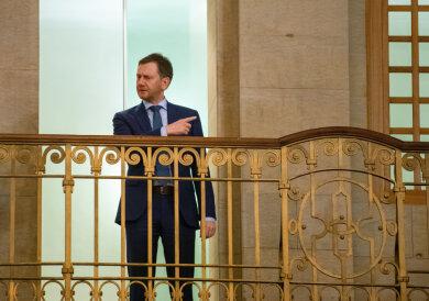 Ministerpräsident Michael Kretschmer (CDU) nach einer Sondersitzung des sächsischen Kabinetts.
