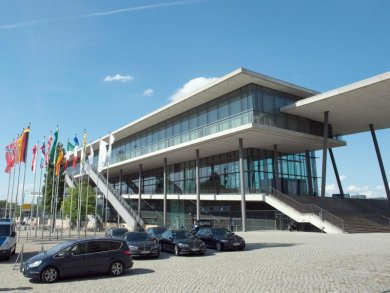 Das Congress Center in Dresden ist von außen zu sehen.