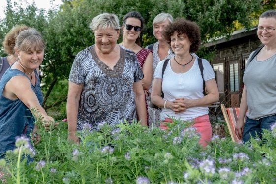Zur Kräuterwanderung durch Burgstädt hat Katrin Reuter (vorn links) eingeladen. Eine Station ist ein Garten in der Sparte Waldesfrieden.
