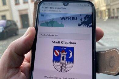 So sieht der Startbildschirm für das freie W-Lan in Glauchau aus.