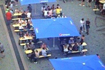 Dieses Bild soll die Webcam am Mittweidaer Markt am Samstagnachmittag aufgezeichnet haben, sagt der Veranstalter.