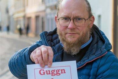 """""""Guggn & Abholn"""": Marco Hunger übersetzte das zusätzliche Angebot ins Erzgebirgische. Genutzt werden darf es im Kreis aber nicht."""