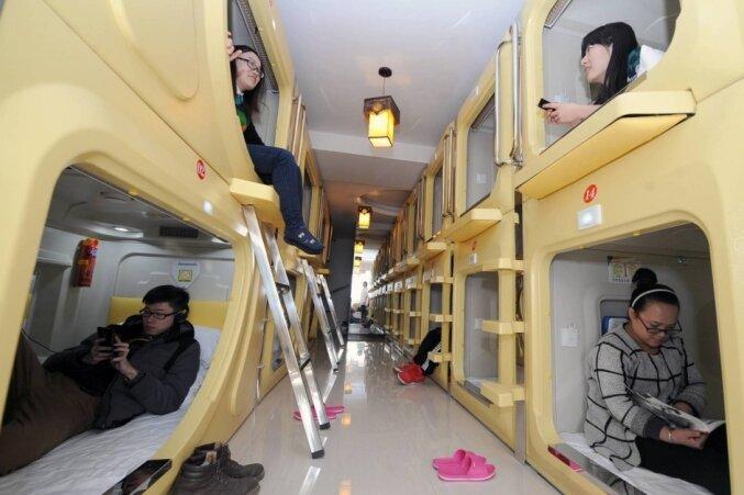 Einblick in ein Hotel in der chinesischen Stadt Taiyuan. Solche Schlafkapseln sind in Asien durchaus üblich.