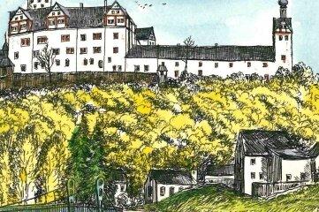 Diese Radierung von Steffen Gröbner ist noch bis Ende August auf der Rochsburg zu erwerben.