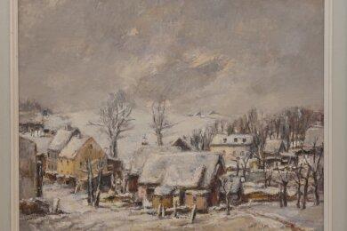"""Einer der Neuzugänge in der Sammlung Erzgebirgischer Landschaftskunst auf Schloss Schlettau ist das Ölgemälde auf Leinwand """"Erzgebirgische Winterlandschaft"""" von Rolf Schubert. Es ist auch Bestandteil der aktuellen Ausstellung, die allerdings coronabedingt bisher noch nicht für die Öffentlichkeit freigegeben werden konnte."""