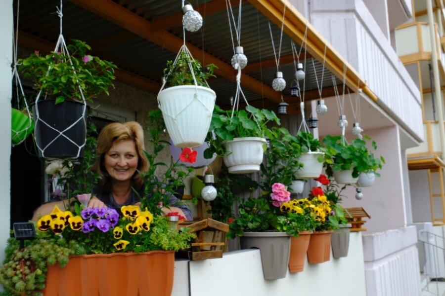Die Blütenpracht auf dem Balkon an der Andreas-Schubert-Straße.