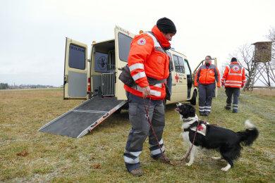 """Oberhalb des Ortsteiles """"Heinzwinkel"""" ließ Pamela Fahning Suchhund Ziva noch einmal zum Training von der Leine."""