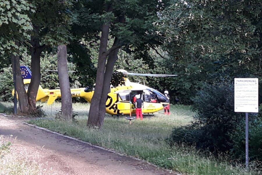 Hubschrauber landet im Reichenbacher Park des Friedens