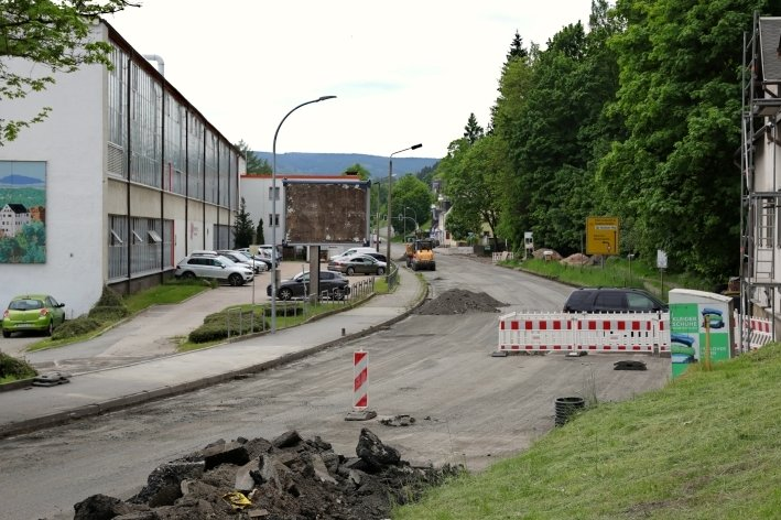 Baustelle an der B 101 in Schwarzenberg.