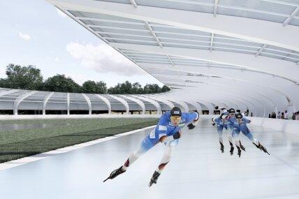 So soll die neue Eisbahn einmal aussehen. Die Überdachung wird allerdings nicht mehr dieses Jahr errichtet.