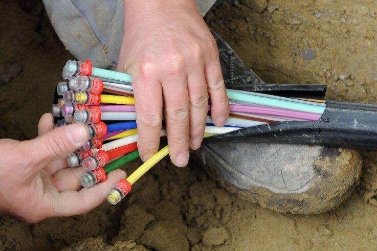 Aufgefächertes Glasfaser-Kabel mit farbigen Einzelsträngen. Der Breitbandausbau im Vogtland ist vielerorts Gesprächsthema.
