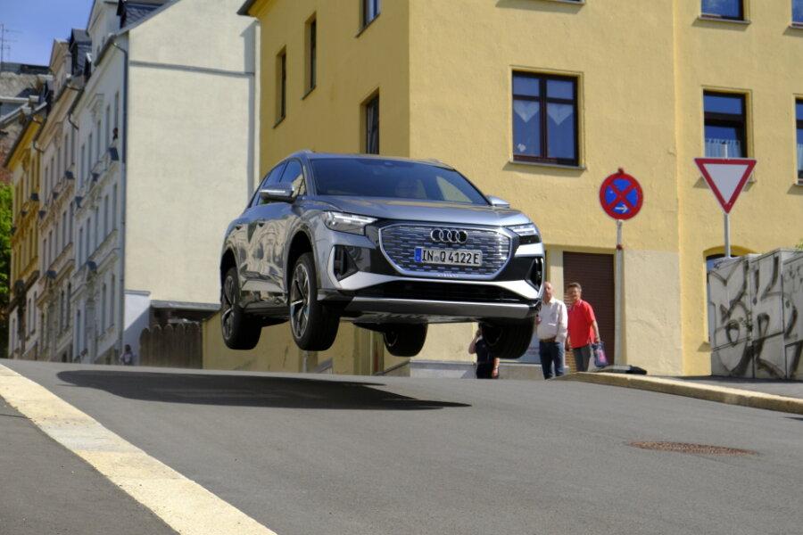 Audi E-Fahrzeug Testfahrt auf dem Reichenbacher Liebauberg