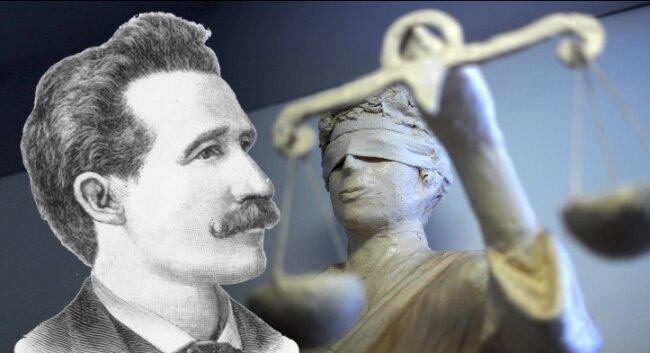 Im Fall von August Spies war Justitia blind. Ob Schiedsgerichte es im Ernstfall immer besser machen?