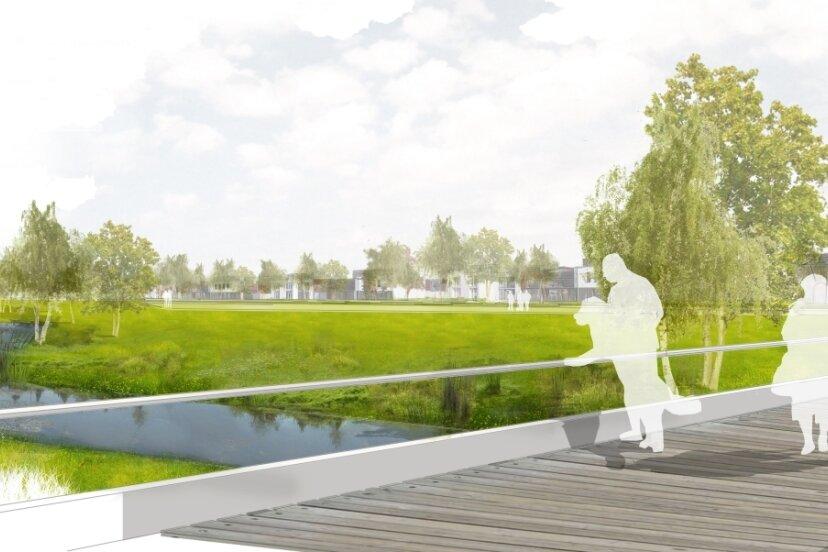 So könnte das Gebiet nach der Umgestaltung aussehen. Vorgesehen sind auch Brückenneubauten über den Bach. Für die Umsetzung müssen hunderte Bäume gefällt werden.