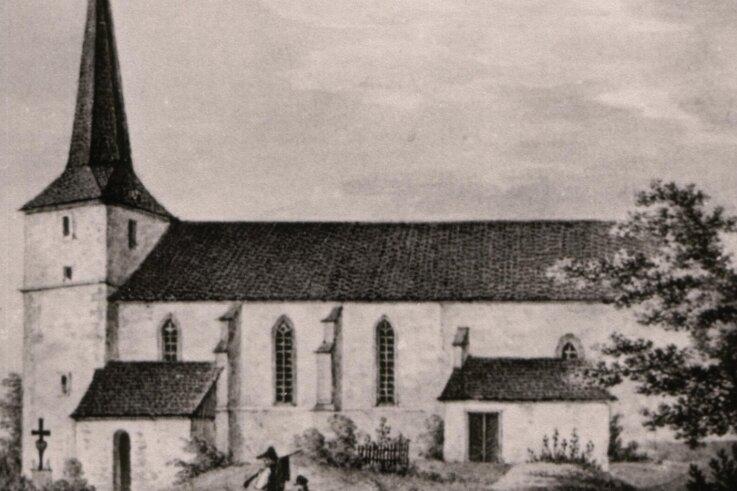 Diese Aufnahme der Bockwaer Kirche entstand um das Jahr 1850.