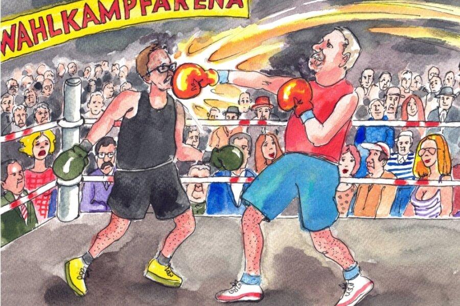 So sieht Karikaturist Ralf Alex Fichtner den Wahlausgang: Der AfD-Kandidat schlägt die CDU.