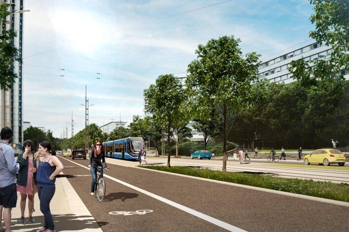 Diese Lösung für die Brückenstraße halten Planer und Verkehrsexperten für die beste: Nur noch eine Spur in jede Richtung, aber keine Umwandlung ineinen komplett verkehrsberuhigten Bereich.