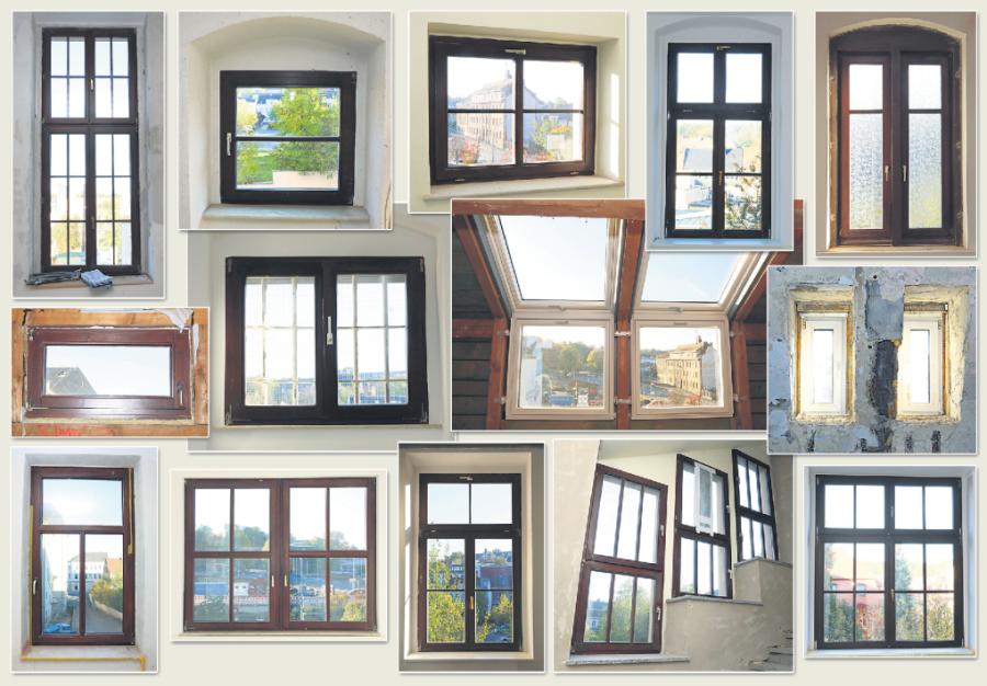 Eine kleine Auswahl der verschiedenen Fenster in der Außenstelle des Landratsamtes in Werdau.
