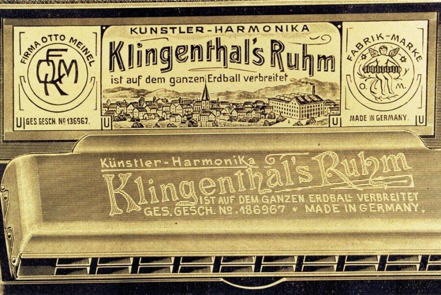 Historische Werbeanzeige für Mundharmonikas der vogtländischen Firma Otto Meinel.