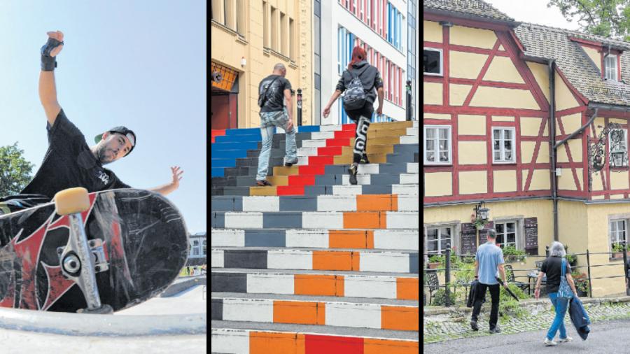 Drei von 80 Chemnitzer Glücksorten hat der Fotograf Andreas Seidel aufgesucht und seine Impressionen festgehalten: die Konkordiapark-Skate-Session, die Bunte Treppe am Sonnenberg und das Kellerhaus in Schloßchemnitz.