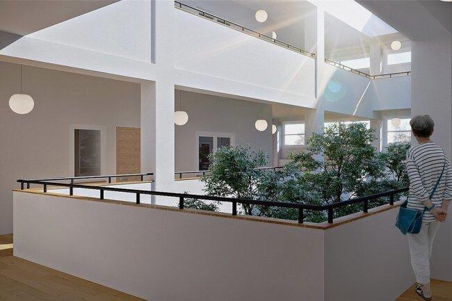 So soll der Lichthof in der zweiten und dritten Etage des Komplexes aussehen, wo Loft-Wohnungen entstehen.