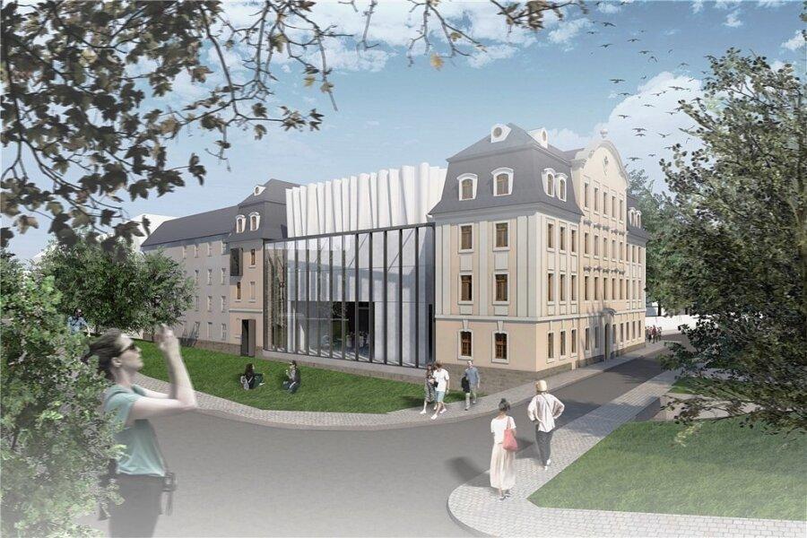 So soll das Weisbachsche Haus nach dem Umbau aussehen: Zwischen den alten Gebäudeteilen ist ein moderner Zwischenbau geplant. In dem Gebäude entsteht ein Erlebnismuseum.