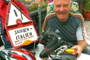 """Werner Nauber, ein """"Verrückter"""": 2007 ging es auf Inlinern vom Fichtelberg an die Adria."""