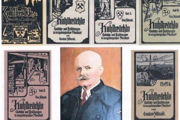 """Gustav Nötzold (Bildmitte) hat insgesamt neun Hefte der """"Kuhlbröckle""""-Reihe in erzgebirgischer Mundart veröffentlicht."""