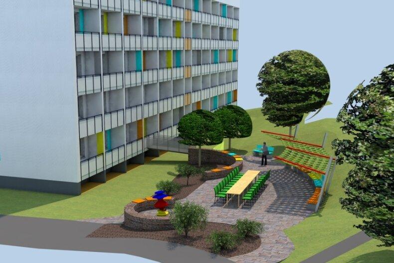 Die Fassade des Hauses Erzstraße 2 im Wohngebiet Heide ist bereits fertig. 2022 soll diese Gartengestaltung folgen.