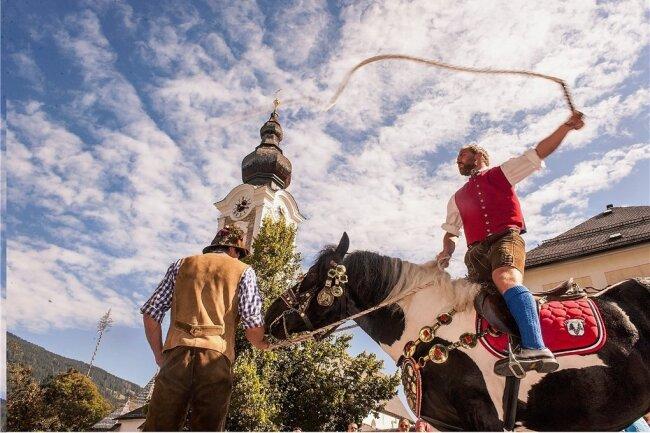Unerschrockene Pferde, starke Männer in Tracht - im Salzburger Land gibt es beides zu sehen.