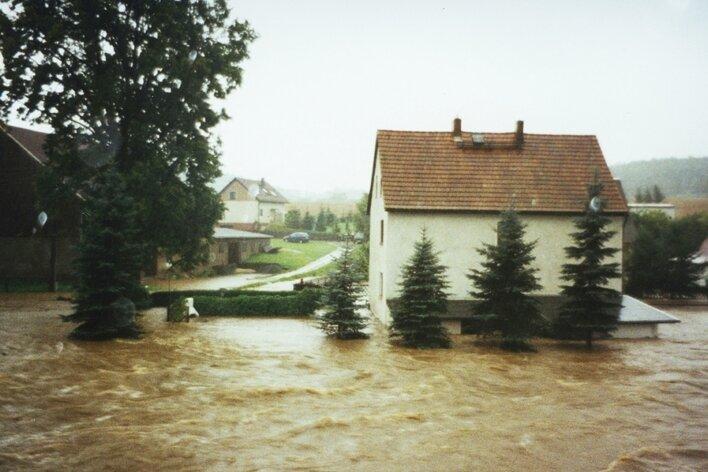 """<p class=""""artikelinhalt"""">1,70 Meter hoch stand das Wasser am 13. August 2002 in Naundorf. Vom Schuppen hinter den drei inzwischen gefällten Fichten lugte nur noch ein Stück Dach heraus. </p>"""