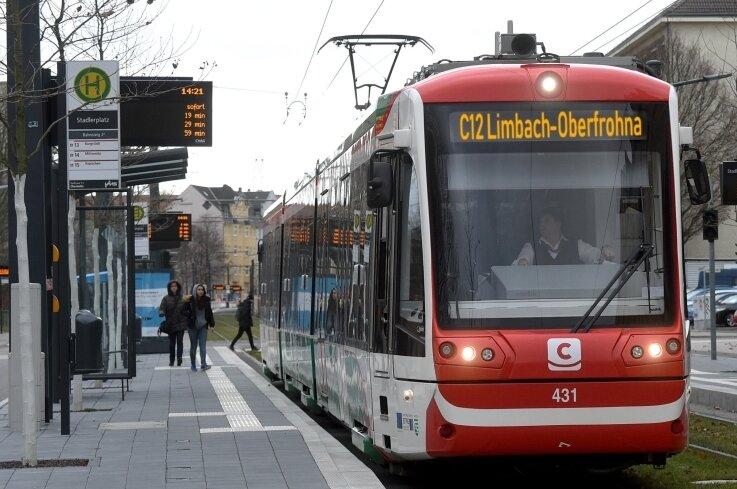 Was diese Fotomontage symbolisiert, soll in etwa zehn Jahren Wirklichkeit sein: Chemnitz-Bahnen, die nach Limbach-Oberfrohna unterwegs sind. Auf welchem Weg, muss sich noch entscheiden.