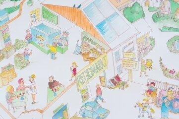 2016 zeichnete Rolf Büttner von der Volkskunstschule dieses Bild vom Regiomarkt.