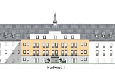 Die Pläne sehen vor, das Gebäude mit mehreren Anbauten zu ergänzen. Die Visualisierung zeigt die Nordseite.