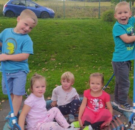 Viel Spaß auf der Nestschaukel hat Krystof (Mitte), hier mit Benno, Mina,Melina und Max (v. l.).